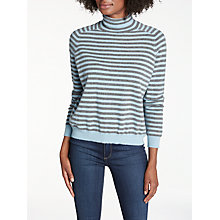Buy 360 Sweater Erika Striped Roll Neck Jumper, Mid Grey/Bluebell Online at johnlewis.com