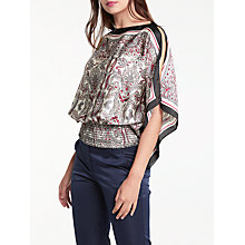 Buy Max Studio Paisley Print Top, Black/Burgundy Online at johnlewis.com