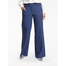 Buy Max Studio Wide Leg Jacquard Trousers, Dark Navy Online at johnlewis.com