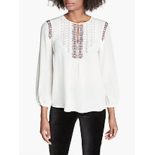 Buy Joie Clema Long Sleeve Embroidered Blouse, White Online at johnlewis.com
