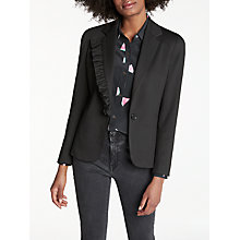 Buy Helene For Denim Wardrobe Jersey Frill Blazer, Black Online at johnlewis.com