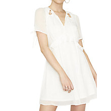 Buy Miss Selfridge Petite Frill Dobby Tea Dress, Ivory Online at johnlewis.com