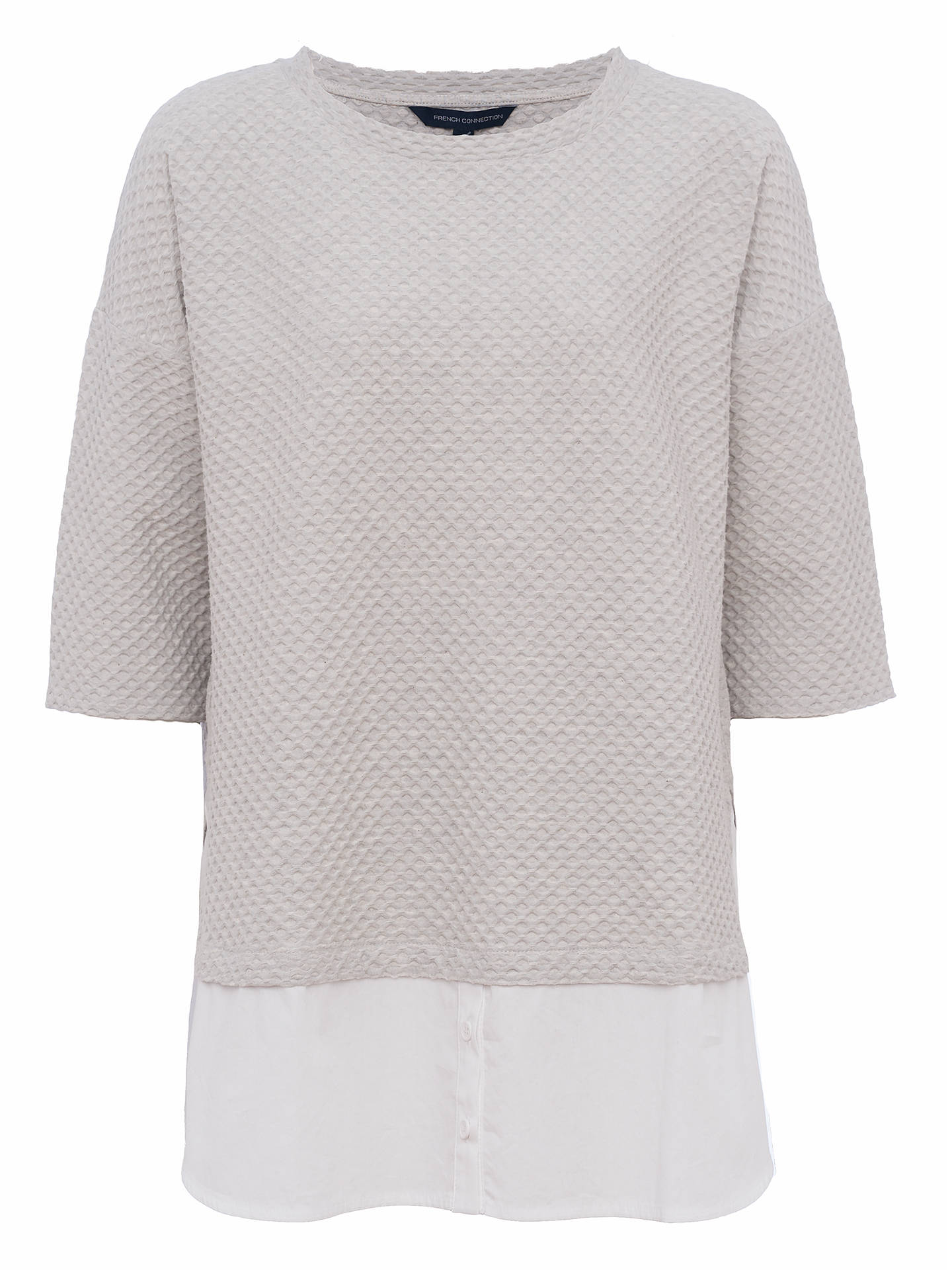 BuyFrench Connection Dixie Texture Top, Light Grey/Winter White, XS Online at johnlewis.com