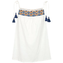 Buy Fat Face Amy Embroidered Tie Camisole, White/Multi Online at johnlewis.com