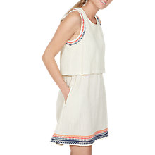 Buy Fat Face Jemima Embroidered Layer Dress, Stone Online at johnlewis.com