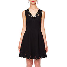 Buy Ted Baker Emalise V-Neck Embroidered Skater Dress, Black Online at johnlewis.com