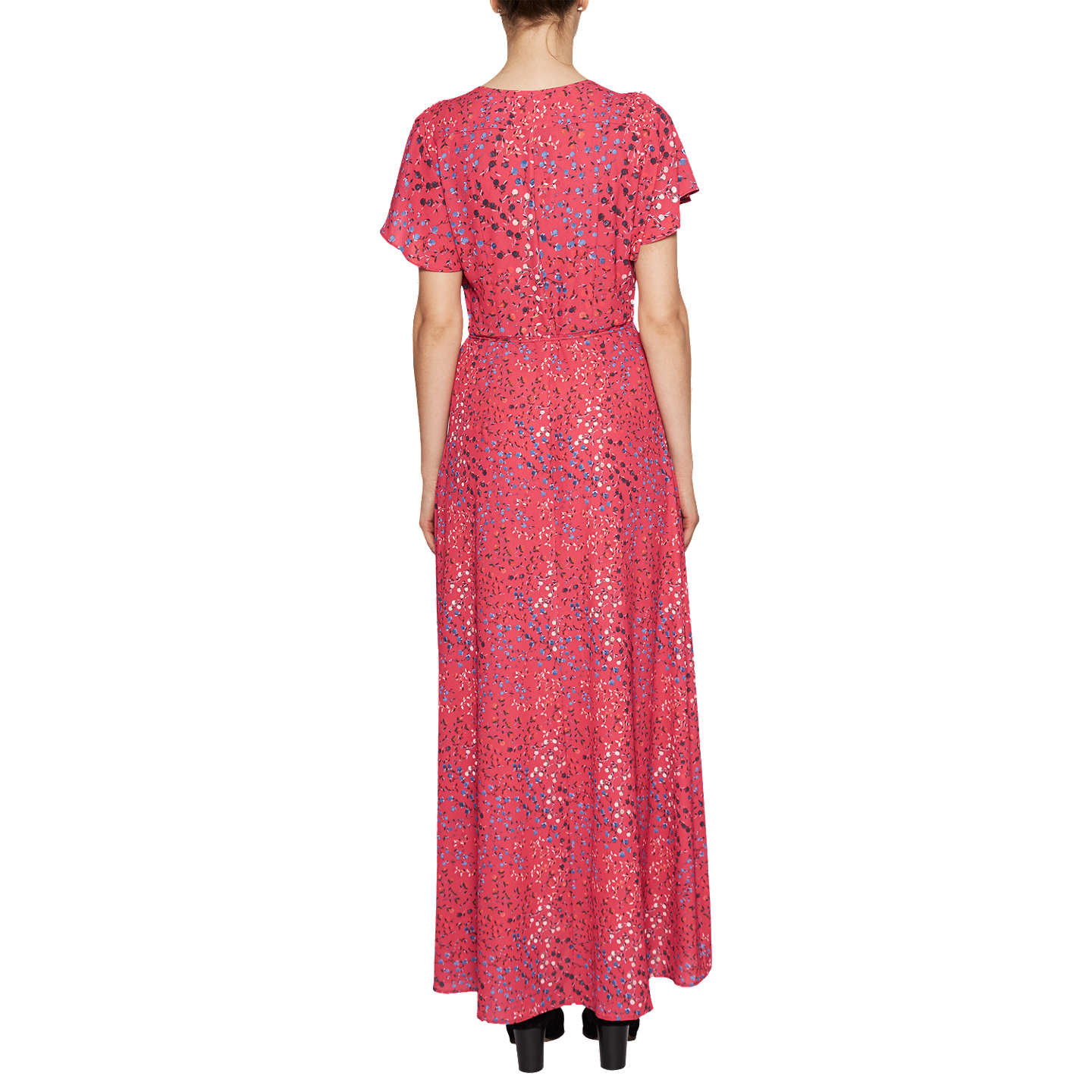 BuyFrench Connection Frances Drape V-Neck Maxi Dress, Watermelon Multi, 6 Online at johnlewis.com