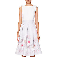 Buy Ted Baker Gilith Pleated Midi Dress, Light Grey Online at johnlewis.com