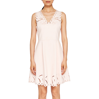 Product photo of Ted baker emalise embroidered skater dress nude pink