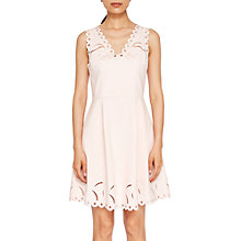 Buy Ted Baker Emalise Embroidered Skater Dress, Nude Pink Online at johnlewis.com
