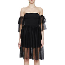 Buy French Connection Valentin Sheer Off Shoulder Jersey, Black Online at johnlewis.com