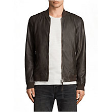 Buy AllSaints Boxley Leather Bomber Jacket, Graphite Grey Online at johnlewis.com