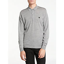 Buy John Smedley Long Sleeve Polo Neck, Silver Online at johnlewis.com