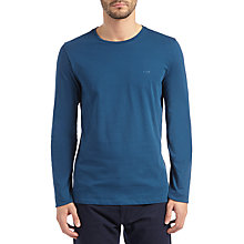 Buy BOSS Green Leo 80 Long Sleeve Slim Jersey T-Shirt, Open Blue Online at johnlewis.com