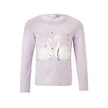 Buy John Lewis Girls' Long Sleeve Swan T-Shirt, Lilac Online at johnlewis.com