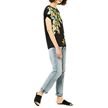 Buy Warehouse Patterned Tropical Print Woven Top, Black Online at johnlewis.com