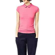 Buy Warehouse Lace Collar Knitted Top, Pink Online at johnlewis.com