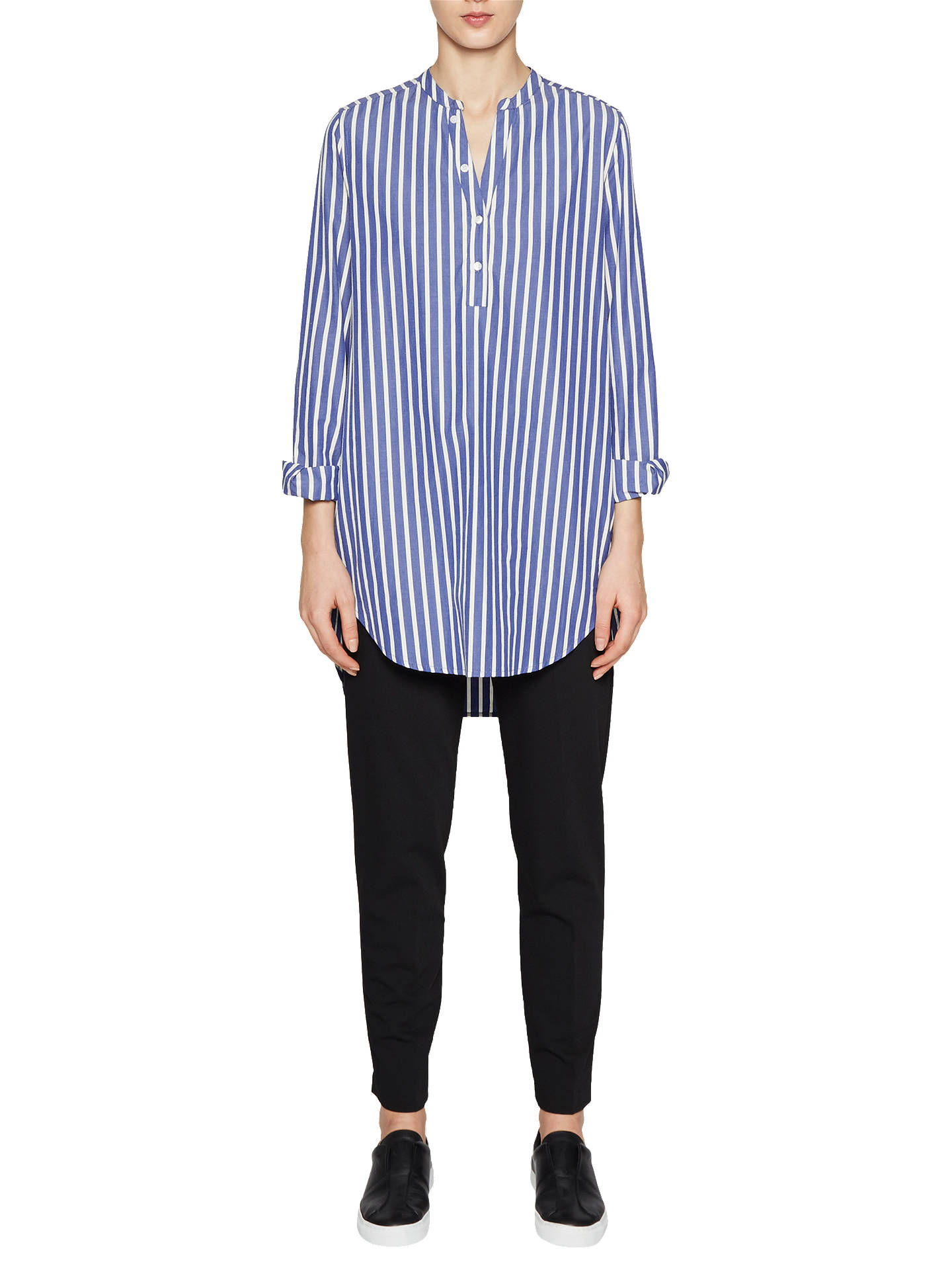 180bfe0821e Buy French Connection Sophia Cotton Popover Shirt, Blue Stripe, 6 Online at  johnlewis.