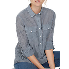 Buy Fat Face Laurie Cotton Stripe Popover Shirt, Chambray Online at johnlewis.com