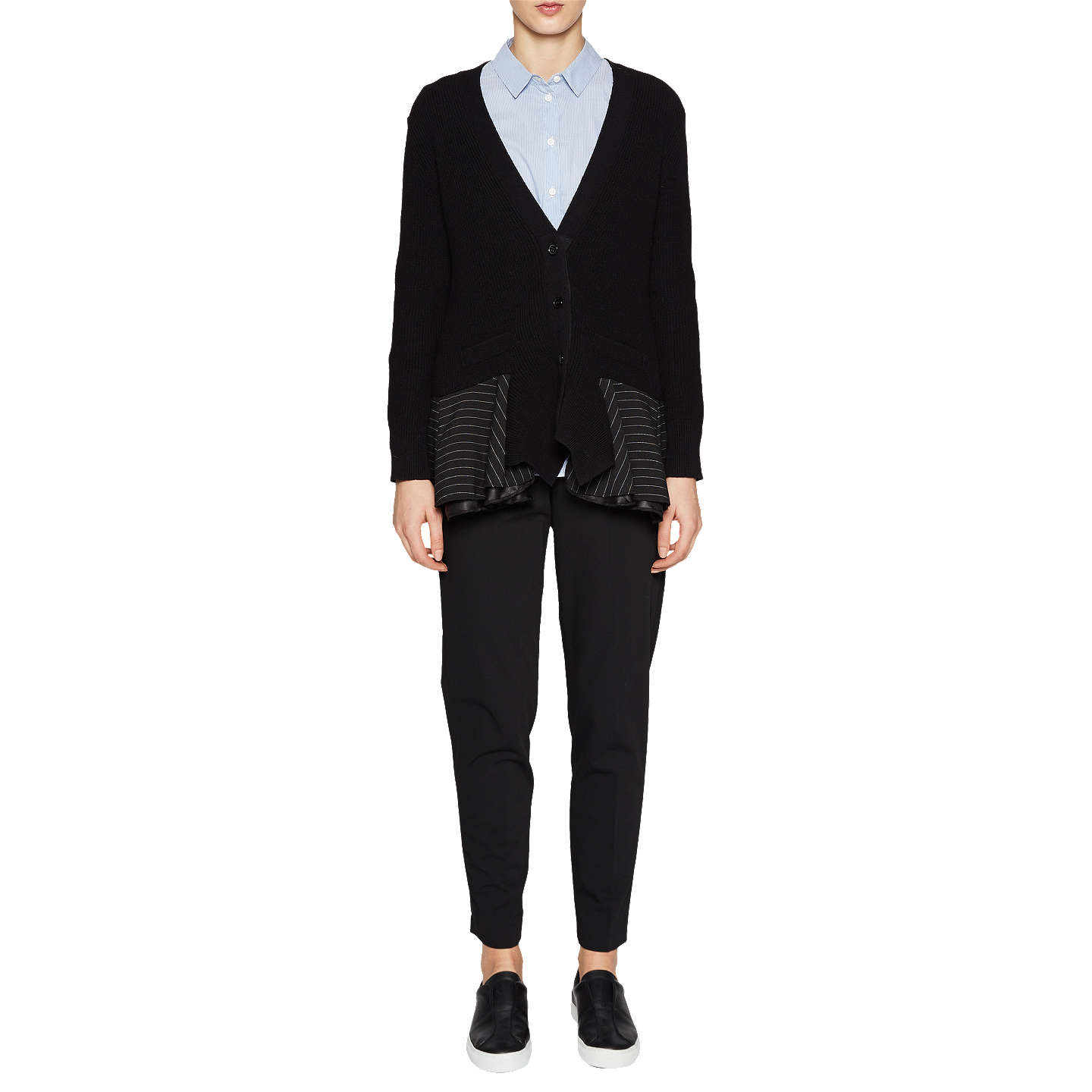 Pay With Paypal Cheap Online Buy Cheap Price French Connection Pinstripe Long Sleeve Cardigan 1PSehV9b