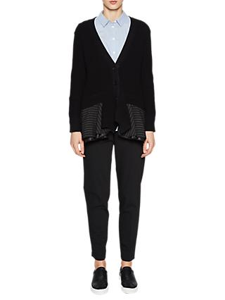 French Connection Pinstripe Long Sleeve Cardigan, Black