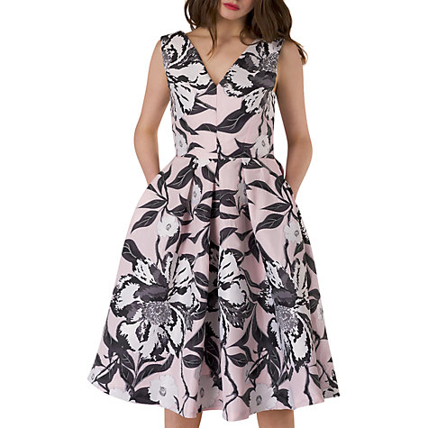 Buy Closet V Neck Floral Pleated Dress, Multi Online At Johnlewis.com ...