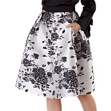 Buy Closet Floral Pleated Skirt, Black/White Online at johnlewis.com