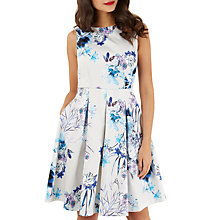 Buy Closet Pleated Skater Dress, White/Blue Online at johnlewis.com