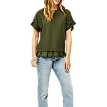 Buy Warehouse Woven Hem Knitted Top, Khaki Online at johnlewis.com