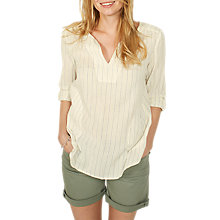 Buy Fat Face Nancy Stripe Popover Shirt, Ivory Online at johnlewis.com