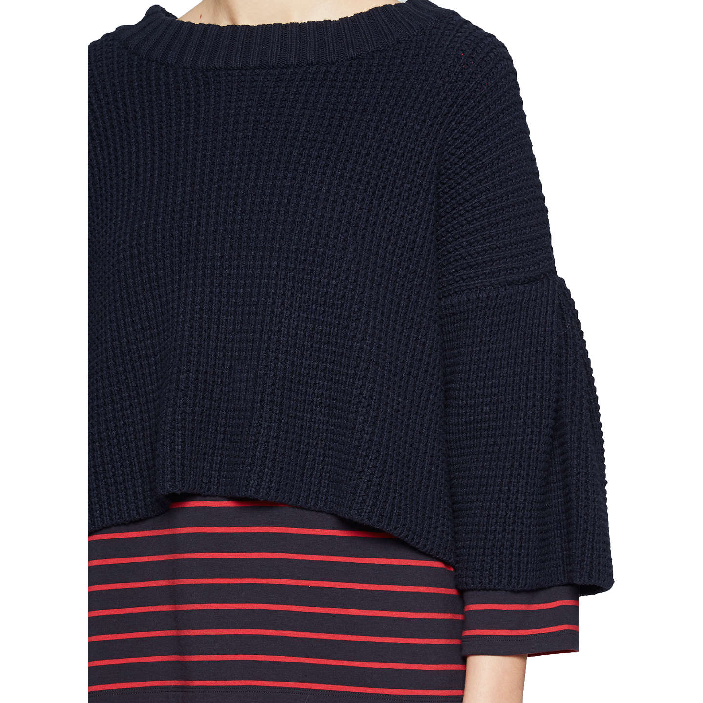 BuyFrench Connection Ellie Waffle Knit Jumper, Utility Blue, XS Online at johnlewis.com
