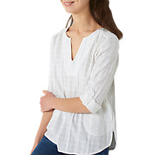 Buy Fat Face Nancy Popover Top, White Online at johnlewis.com