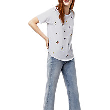 Buy Warehouse Frieda Embroidered Casual T-Shirt, White Online at johnlewis.com