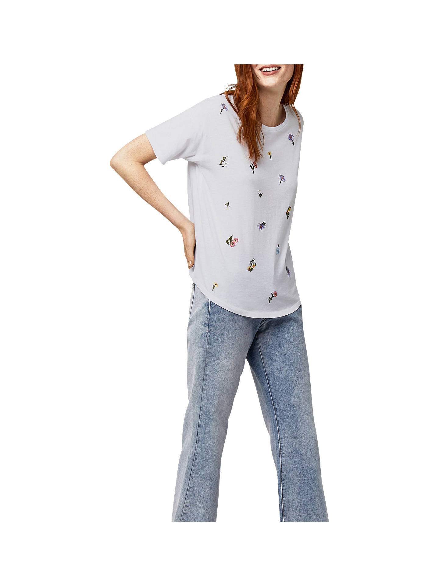 05913d13 Buy Warehouse Frieda Embroidered Casual T-Shirt, White, 6 Online at  johnlewis.