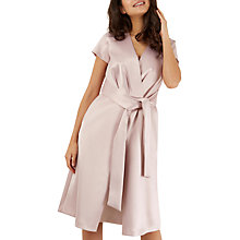 Buy Closet Pleated Front Tie Wrap Dress, Pink Online at johnlewis.com