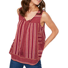 Buy Fat Face Lottie Stripe Cami, Rustic Red Online at johnlewis.com