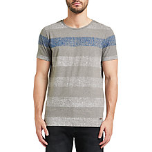 Buy Boss Orange Tweezer Faded Stripe T-Shirt, Light/Pastel Grey Online at johnlewis.com