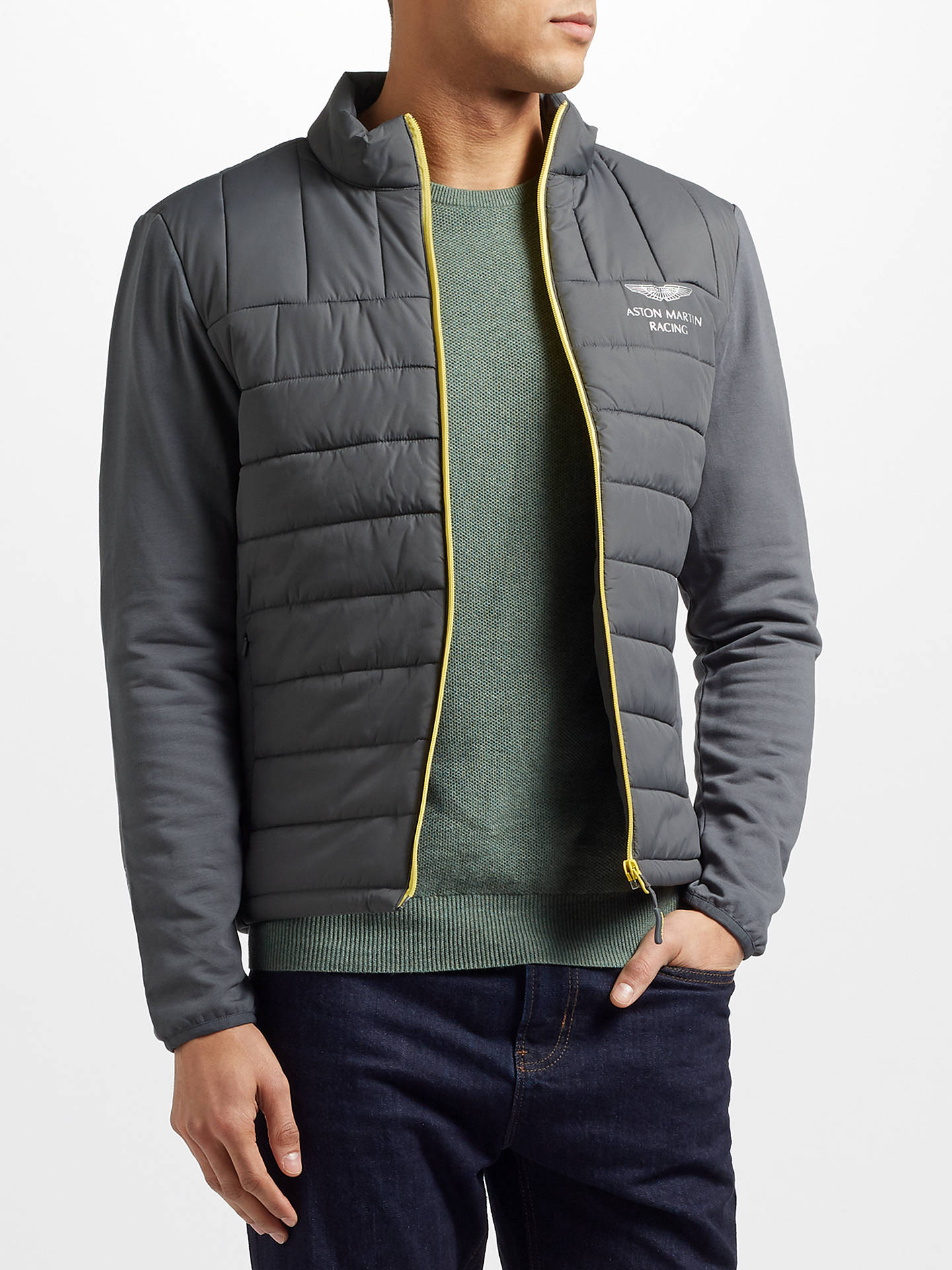 Hackett London Aston Martin Racing Quilted Jacket Steel Grey At