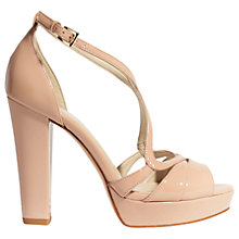 Buy Karen Millen Block Heeled Strappy Platform Sandals, Champagne Online at johnlewis.com
