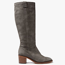 Buy John Lewis Taiya Block Heeled Knee High Boots, Grey Nubuck Online at johnlewis.com