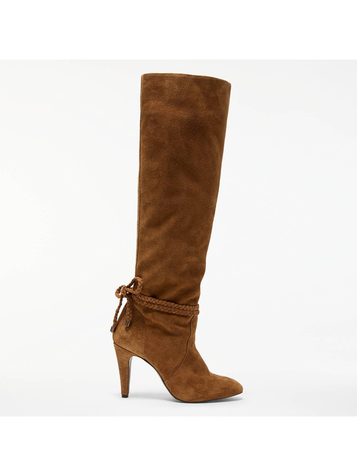 311dcdae46861 AND/OR Sancia Knee High Slouch Boots, Tan Suede at John Lewis & Partners