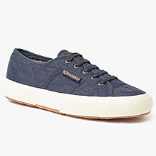 Buy Superga 2750 Quilted Lace Up Plimsolls, Navy Online at johnlewis.com