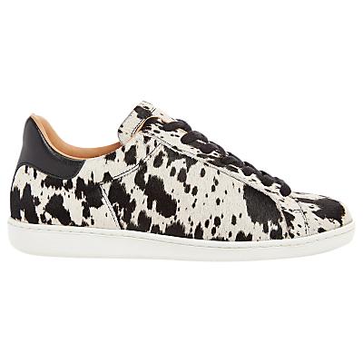 Air & Grace Copeland Cow Print Lace Up Trainers, Black/White