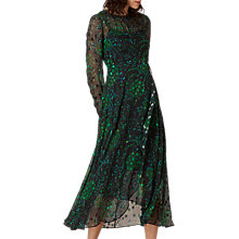 Buy L.K. Bennett Roe Floaty Dress, Black/Green Online at johnlewis.com