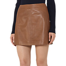 Buy Reiss Cammie Leather A-Line Mini Skirt, Tan Online at johnlewis.com
