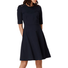 Buy L.K. Bennett Casey Button Ponte Dress, Navy Online at johnlewis.com
