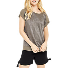 Buy Oasis Crinkle Roll Sleeve T-shirt, Khaki Online at johnlewis.com