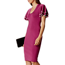 Buy Karen Millen Soft Ruffle Knit Dress, Magenta Online at johnlewis.com