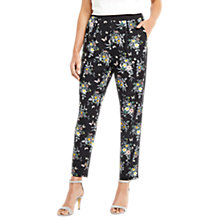 Buy Oasis Marie Printed Soft Trousers, Black Online at johnlewis.com