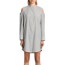 Buy AllSaints Floria Stripe Dress, Grey/Chalk Online at johnlewis.com